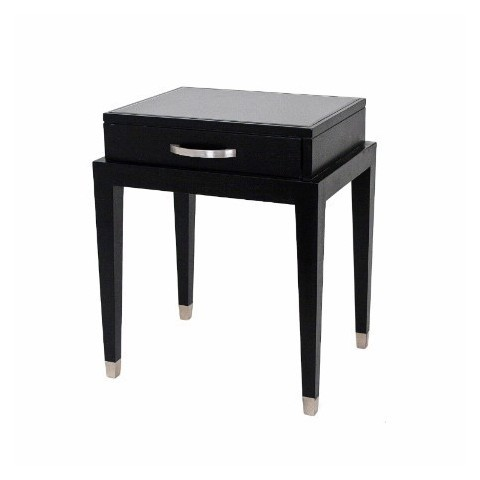 RV Astley - Black Glass Top odkládací stůl