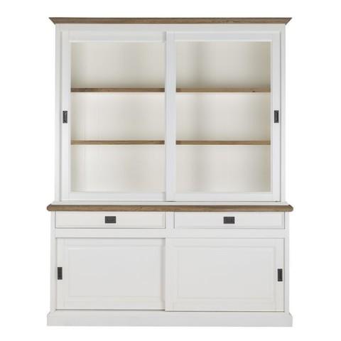Richmond Interiors - Vitrína Whitewood 2x2-doors 2-drawers + Oak