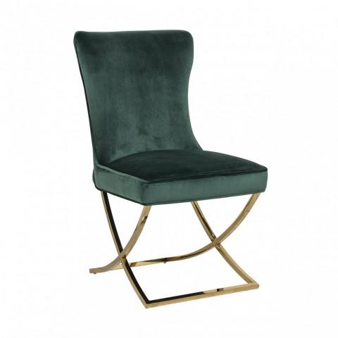 Richmond Interiors - Jídelní židle Scarlett Green velvet / gold