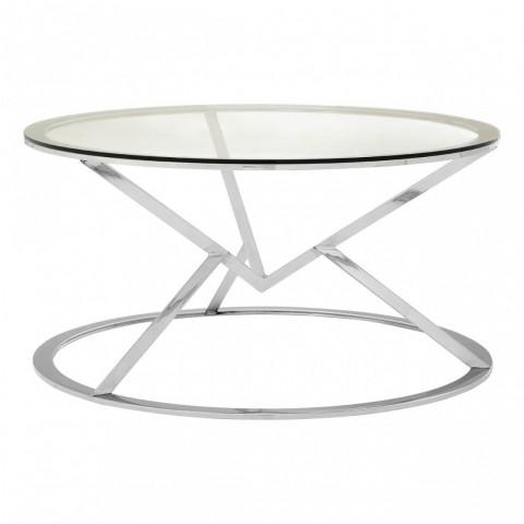 Kensington - Allure Corseted Round Silver Dohányzóasztal