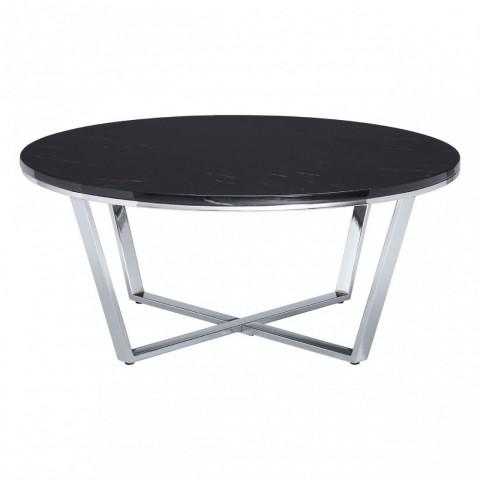Kensington - Allure Round Black Faux Marble Dohányzóasztal