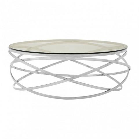 Kensington - Allure Round Silver Swirl Dohányzóasztal