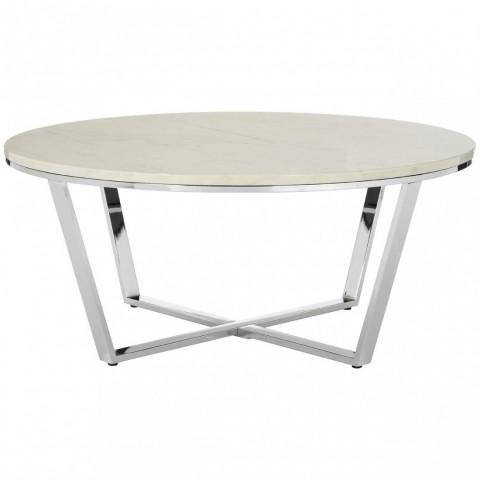 Kensington - Allure Round White Faux Marble Dohányzóasztal