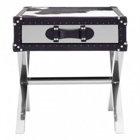 Kensington - Blackwhite Cowhide 1 Drawer Dohányzóasztal