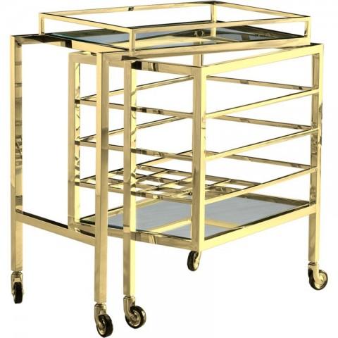 Artelore - Parker Gold Finish barový vozík