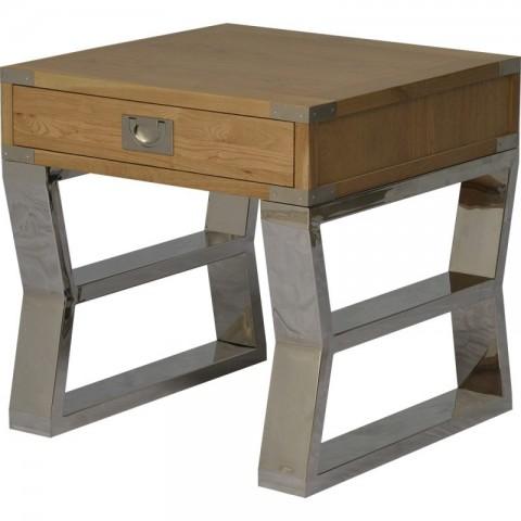Artelore - Anish Oak Stainless odkládací stolek